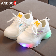 Size 21-30 Children Breathable Glowing Casual Shoes Baby Led Light Up Shoes Luminous Sneakers for Boy and Girl Non-slip Sneakers cheap ANDDOH 4-6y 7-12y 12+y CN(Origin) Four Seasons unisex Rubber Fits true to size take your normal size Stretch Fabric Lace-up