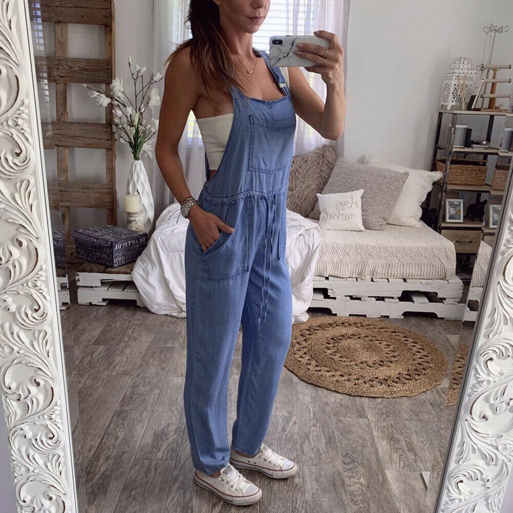 Autumn Women Denim Jumpsuits Casual Pockets Bib Pants Rompers Elegant Female Jeans One Piece Dungarees Loose Overalls Jumpsuit