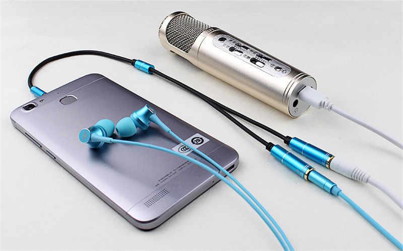 3.5 Mm MALE untuk Perempuan Jack Kabel Audio dan Mikrofon Membagi Adaptor 3.5 Mm Jack Aux Kabel Audio untuk Pergi Ke Karaoke Rekaman