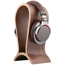 เดสก์ท็อปหูฟังขาตั้งไม้วอลนัทชุดหูฟังคอมพิวเตอร์ชั้นวางหูฟังขาตั้งหูฟังแขวน