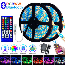 5M-30M LED Strip Light Bluetooth RGBWW SMD 5050 LED Lights DC12V RGB Led tape diode ribbon Flexible APP Phone Control+adapter