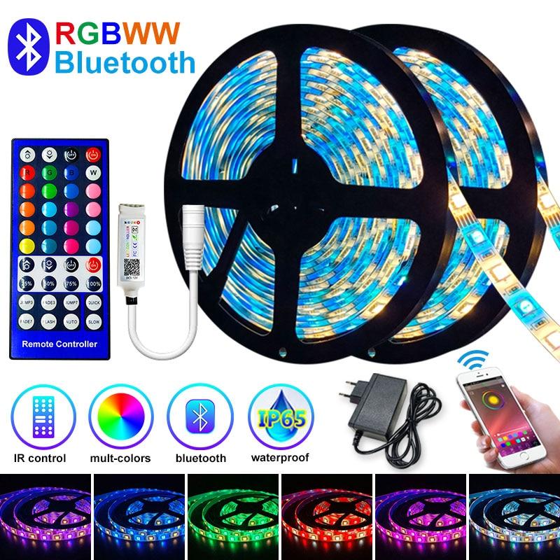 5M-30M LED bande lumière Bluetooth RGBWW SMD 5050 LED lumières DC12V rvb Led ruban diode ruban Flexible APP téléphone contrôle + adaptateur