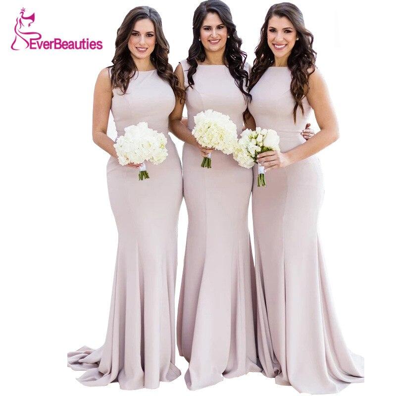 Mermaid Elegant 2019   Bridesmaid     Dresses   Long Satin Vestidos De Festa Sleeveless Wedding Guest   Dress   High Quality Vestido Longo