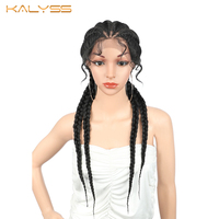 Kalyss 26 Inches Super Lightweight Braided Wigs Braid Lace Front Wigs Synthetic Wig for Black Women Box Hair Braid Faux Locs Wig