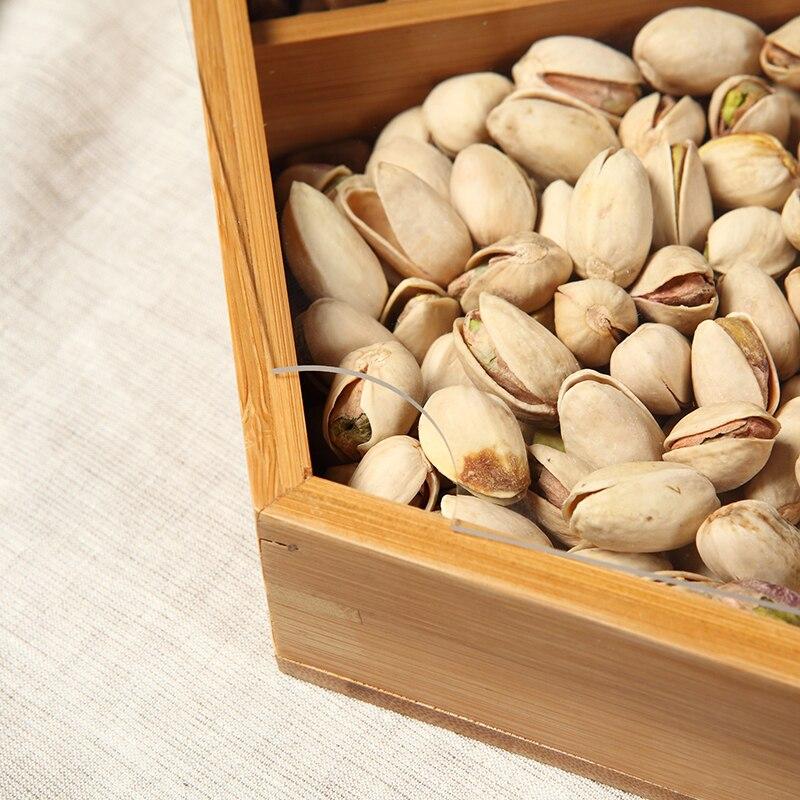 Natural de bambu prato de frutas secas partição com tampa criativo sala de estar simples bandeja de doces sementes de melão lanche bandeja prato - 3