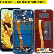 ل Honor 10 عرض مع الإطار لهواوي الشرف 10 شاشة LCD عرض لوحة اللمس مع بصمة الجمعية استبدال أجزاء