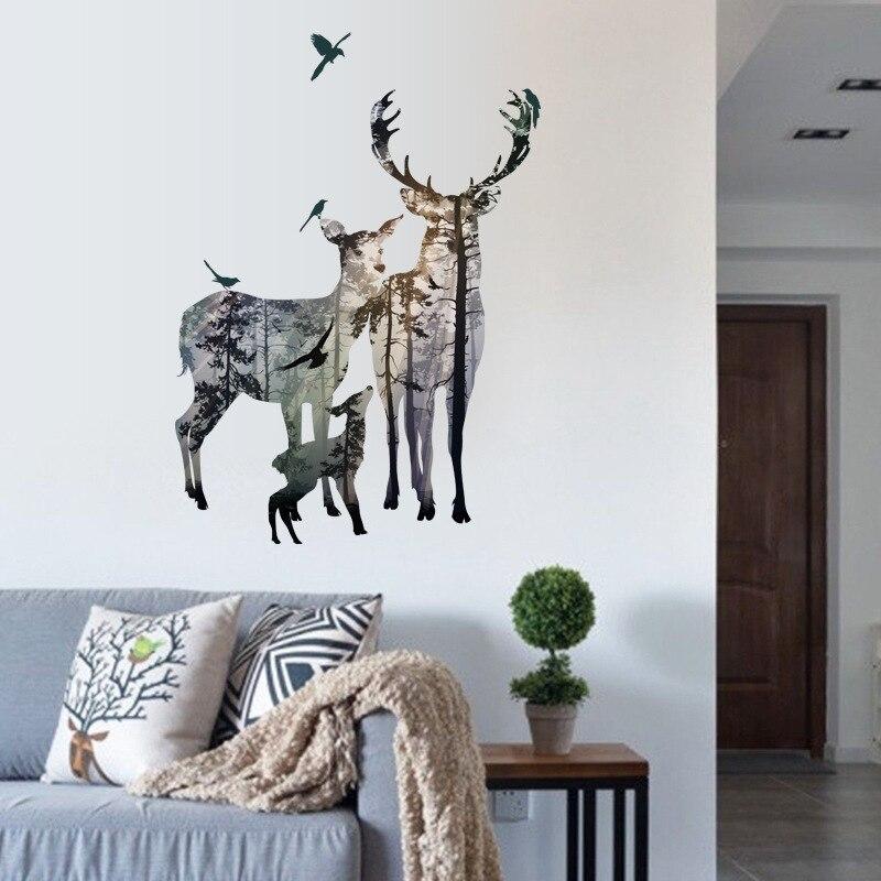 Pegatinas de pared Vintage con diseño de ciervo y pájaros voladores para sala de estar, restaurante, oficina, decoración de pared, calcomanías, Póster Artístico para Mural