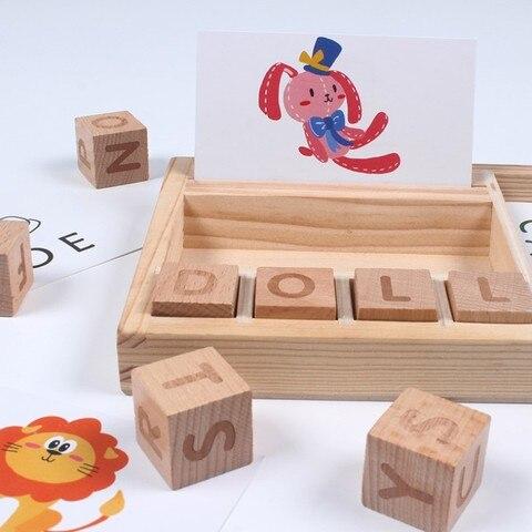 educativos para criancas lingua soletrar aprendizagem brinquedos de madeira