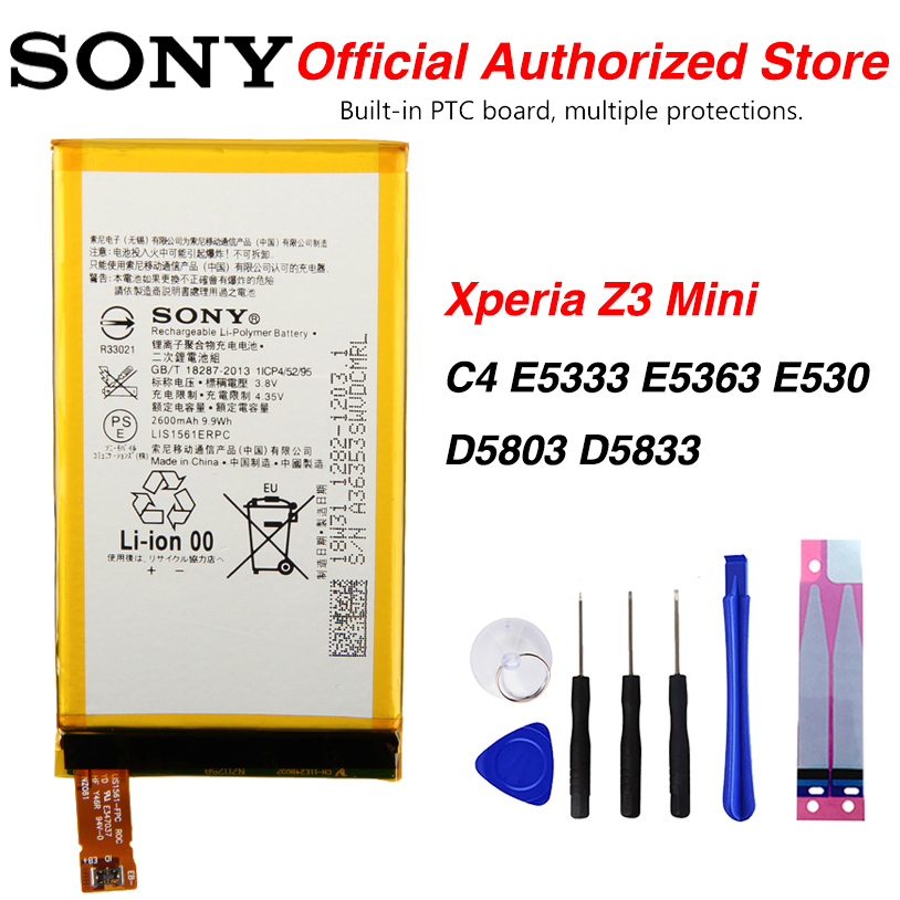 Original <font><b>Sony</b></font> LIS1561ERPC Battery For <font><b>Sony</b></font> <font><b>Xperia</b></font> C4 <font><b>E5333</b></font> E5363 E530 Z3 Mini D5803 D5833 2600mAh image