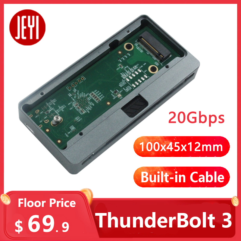 JEYI Tthunderbolt 3 M.2 Nvme 20G Enclosure NVME TO TYPE-C Aluminium  TYPE C3.1 M. 2 USB3.1 M.2 PCIE U.2 SSD ThunderBolt 3 40G