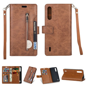 Image 1 - Luxury Zipper Flip Case Solid Leather for Xiaomi Mi 9 Lite Case Mi 9Lite Card Slot for Funda Xiaomi Mi9 Lite 9 SE Wallet Cover