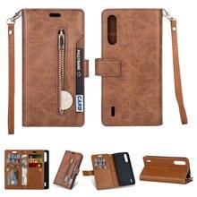 Luxus Zipper Flip Fall Solide Leder für Xiaomi Mi 9 Lite Fall Mi 9 Lite Card Slot für Funda Xiaomi mi9 Lite 9 SE Brieftasche Abdeckung