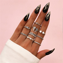 LETAPI Boho Finger Jewelry Vintage Silver Color Wing Star Heart Women Ring Sets Hollow Stacking Finger Rings
