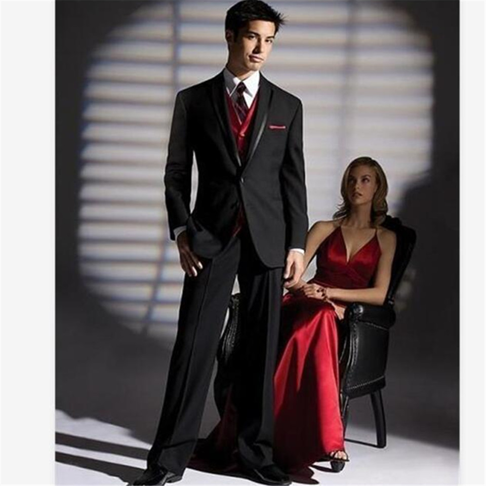 New Classic Men's Suit Smolking Noivo Terno Slim Fit Easculino Evening Suits For Men Black Wedding Tuxedos Groom Bridegroom