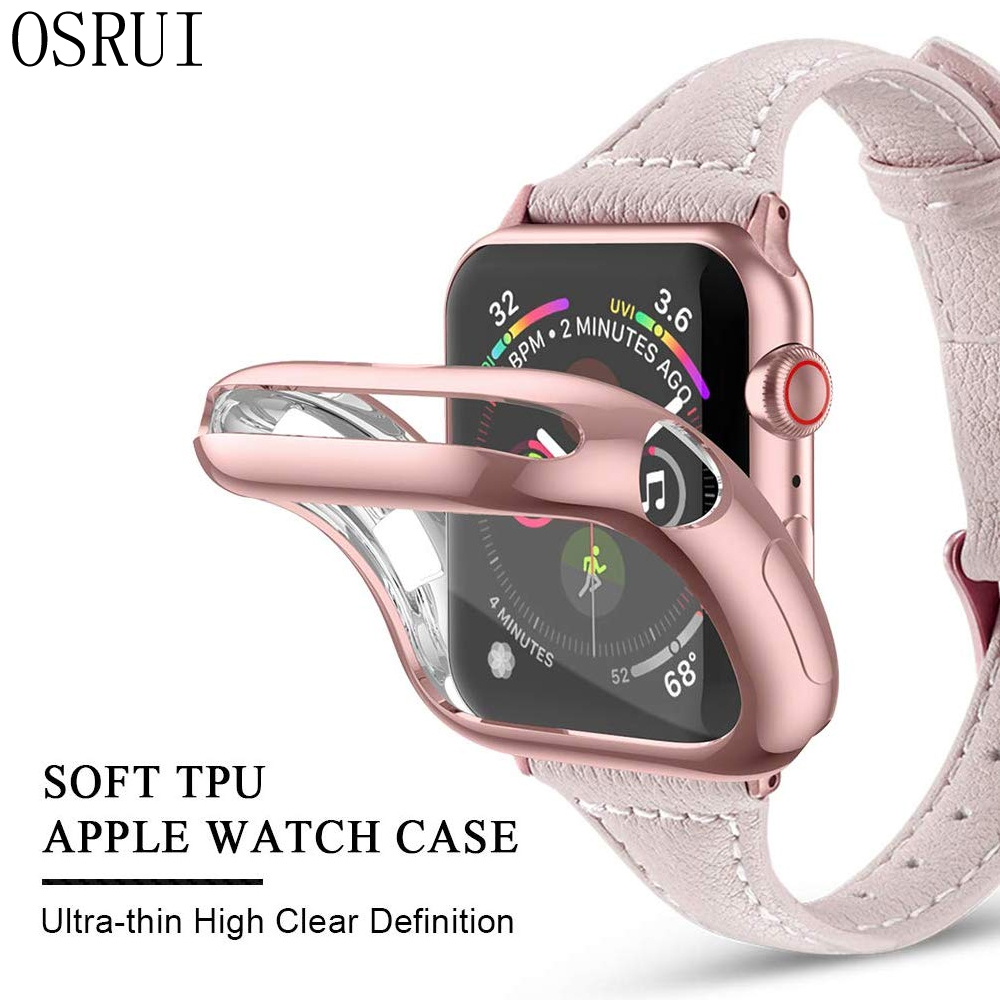 <font><b>Watch</b></font> Cover <font><b>case</b></font> For <font><b>Apple</b></font> <font><b>Watch</b></font> series 5 4 3 <font><b>2</b></font> 1 band <font><b>case</b></font> 42mm 38m 40mm 44mm Slim All inclusiveTPU <font><b>case</b></font> Protector for iWatch 4 image