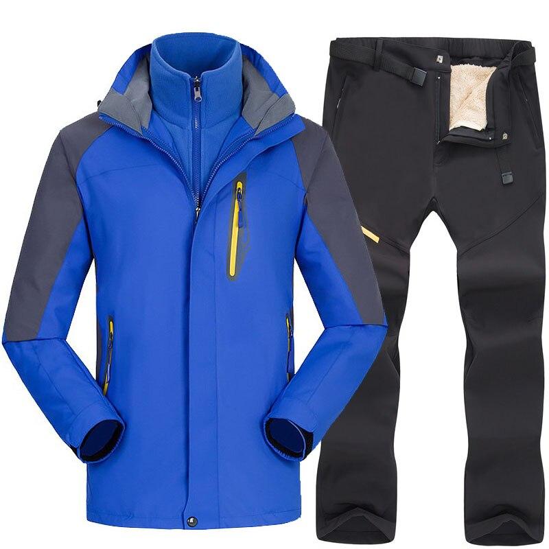 Ski Jacket Pants Men Waterproof Fleece Snow Jacket Thermal Sets For Outdoor Ski Suit Trekking Hiking Snowboard Jackets And Pants