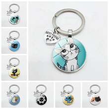 Cute puppy kitten pattern key chain cat dog I love glass pendant mini heart key chain car key man girl favorite souvenir gift цена 2017