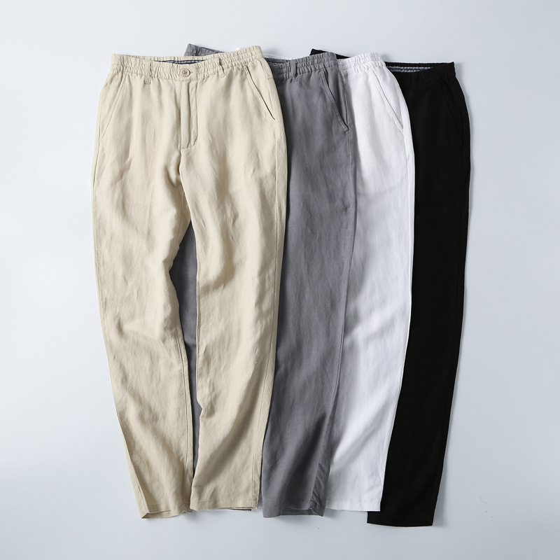 Chinese-style Men's Summer Style Casual Pants Large Size Linen Fabric Loose Cotton Linen Trousers Elastic Waist Solid Color Thin