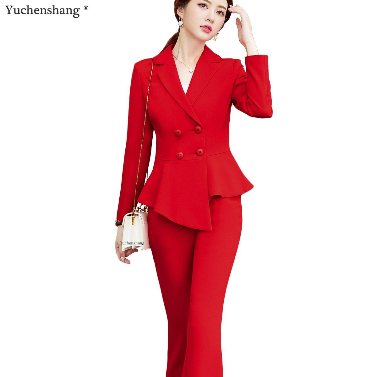New Arrives 2 Piece Set Women Pant Suit Formal Uniform 2019 Fashion Plus Size Solid Blazer And Pants Office Lady Style