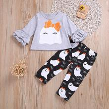 2019 New Arrival Toddler Kids Baby Girls Halloween  Long Sleeve Cartoon Print Tops + Pant Outfit
