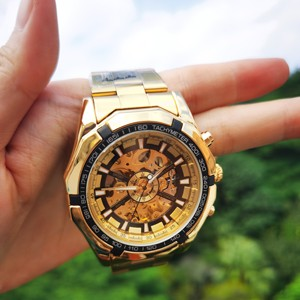 Image 5 - Vencedor oficial clássico relógio automático masculino esqueleto mecânico dos homens relógios marca superior luxo ouro aço inoxidável cinta