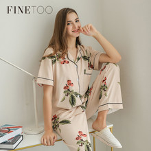 FINETOO Summer Pajamas Cute Cartoon Print Pajamas Sets For Women Plus Size Nightgown Comfort Lady Cotton Sleepwear Nightclothes