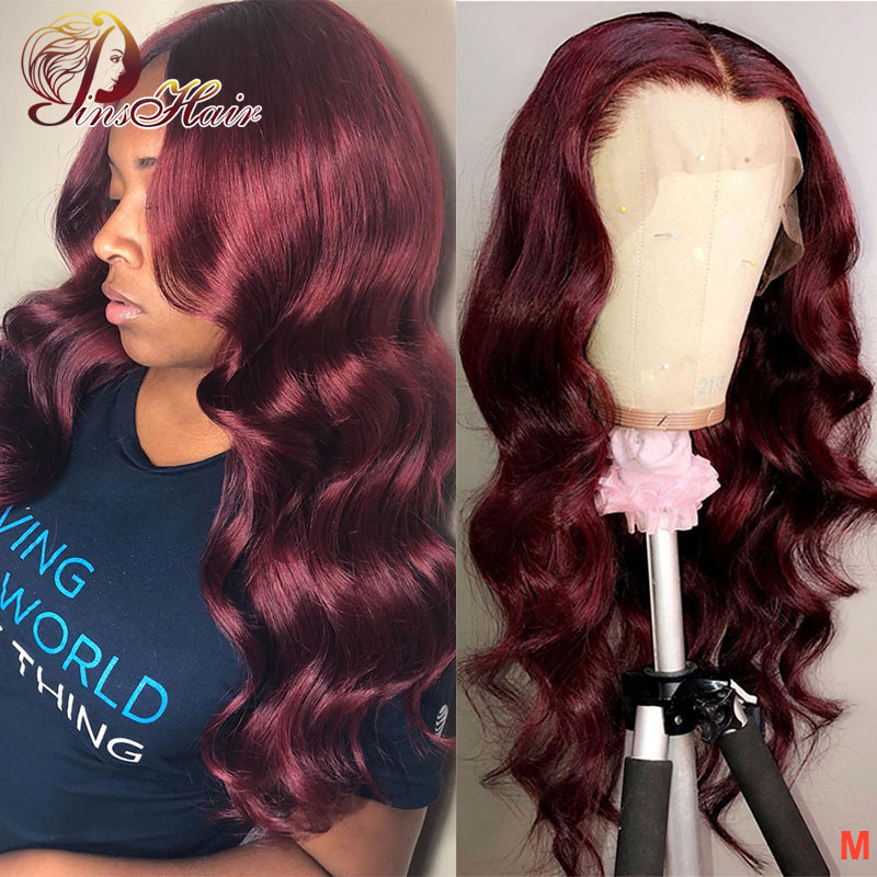Brazilian Lace Front Human Hair Wigs 99J Body Wave Wigs 13*4 Lace Front Wigs Pinshair Non-Remy Pre-Plucked With Baby Hair 150