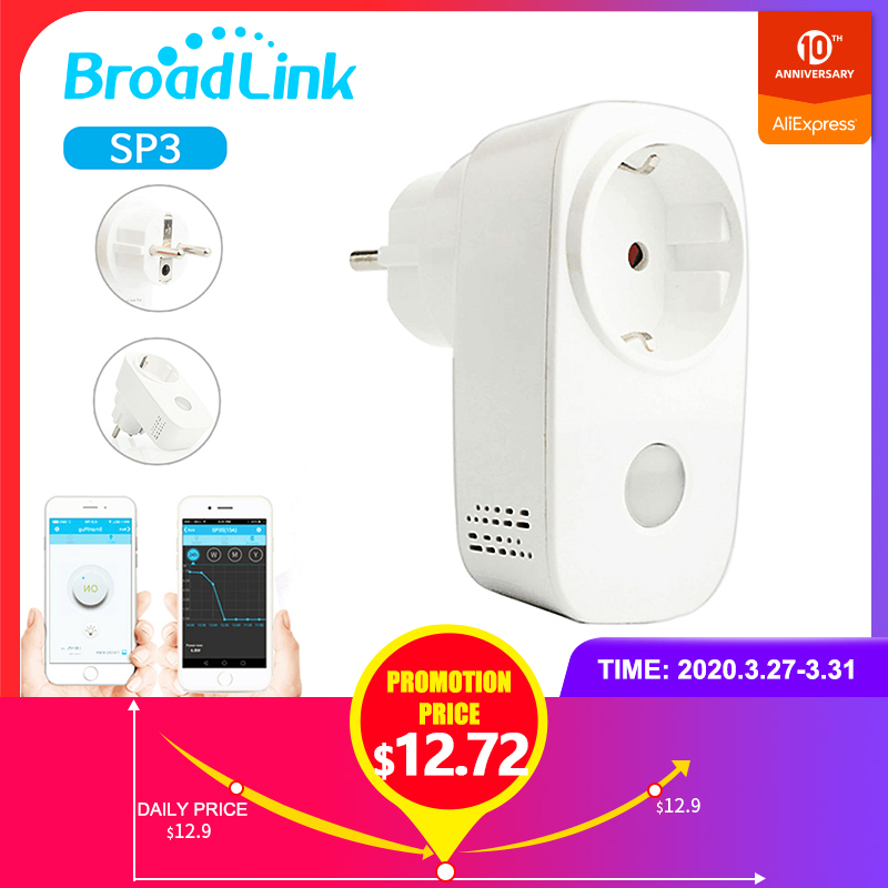 Smart Home BroadLink SP3 EU Wi-Fi Smart Timer Wireless Socket Outlet, No Hub Required, Compatible with Alexa and Google Home