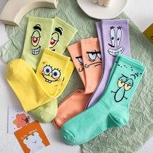 Meia para a mulher tripulação adulto kawaii senhoras dos desenhos animados imprimir meias dos desenhos animados charactor outono padrão engraçado meias tubo