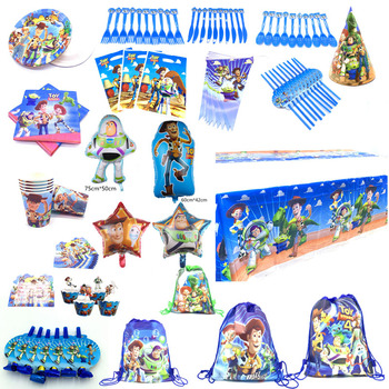 For 10 People Baby Kids Birthday Party Supplies Disney Toy Story 4 Woody Party Decoration Sets Paper Garland Cups baby Shower image
