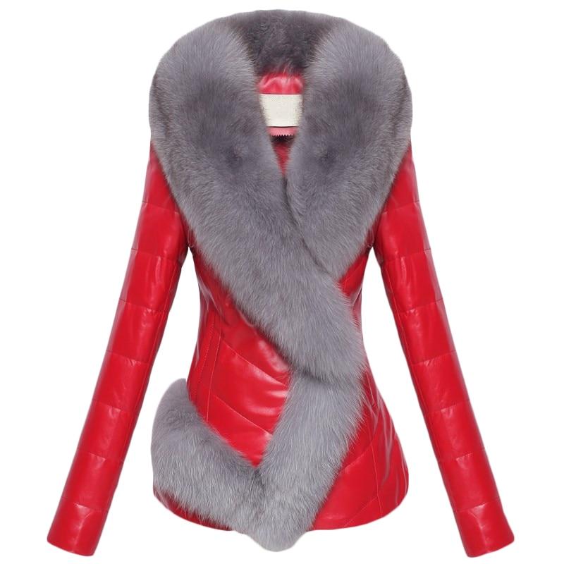 Winter Short   Leather   Jackets Women Imitation Faux fox fur collar PU   Leather   Jacket Plus size Womens Fur stitching Jackets FF1083