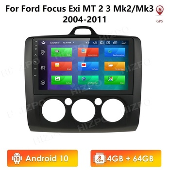 IPS DSP Quad Core Android 10 Car Radio Player GPS Navigation Autoradio for Ford Focus MT MK2 MK3 2004-2011 Multimedia image