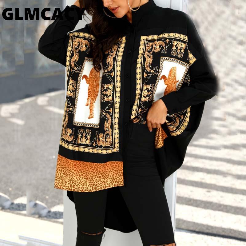Women Leopard & Ethnic Print Stepped Hem Shirts Turn-down Collar Long Sleeve Streetwear Autumn Spring Blouses