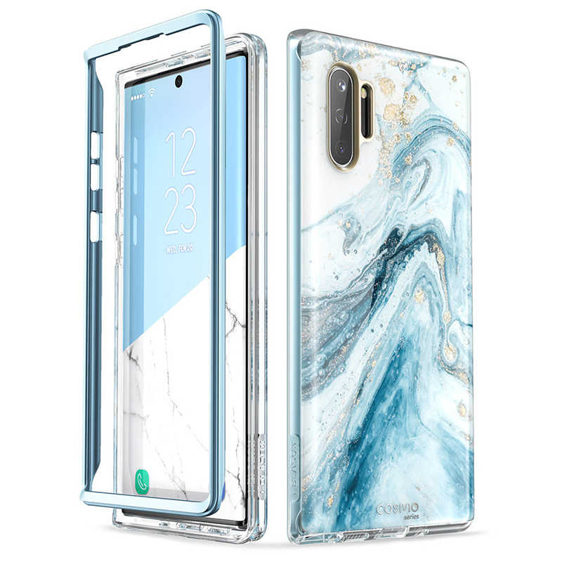 Untuk Samsung GALAXY Catatan 10 Case (2019 Rilis) aku-Blason Cosmo Full-Body Glitter Marmer Cover Tanpa Built-In Screen Protector