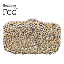 Boutique De FGG Dazzling Flower Clutch Minaudiere Bags Women Crystal Evening Bag Wedding Party Purses and Handbags Dinner Bag