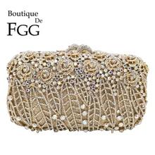 Butik De FGG göz kamaştırıcı çiçek debriyaj Minaudiere çanta kadın kristal akşam çanta düğün parti çantalar ve çanta akşam yemeği çantası