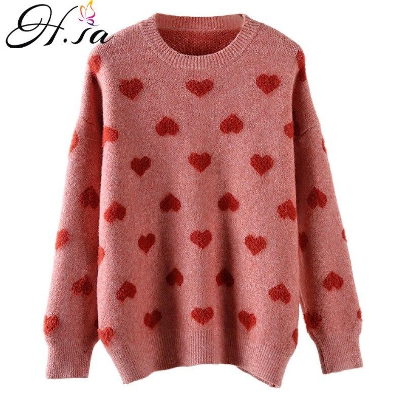 H.SA – Pull doux en cachemire pour femme, vêtement en tricot, Style Kawaii, ample, mignon, molletonné, chaud, 2019