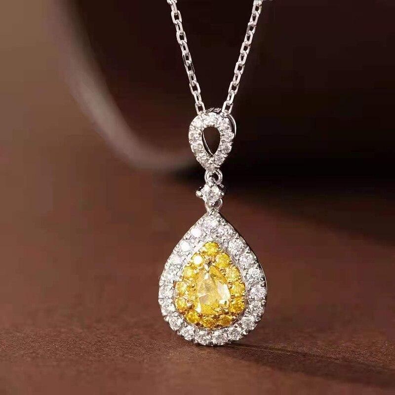 18K Gold 100% Real Color Diamond Woman Pendant Necklace Trendy Style Fine...