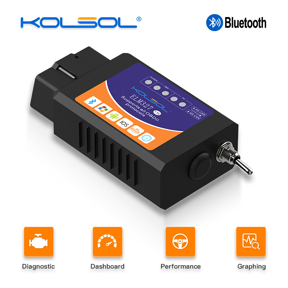 KOLSOL <font><b>ELM327</b></font> <font><b>Bluetooth</b></font> <font><b>OBD2</b></font> Scanner <font><b>V1.5</b></font> <font><b>ELM327</b></font> with Switch modified for Ford CH340+25K80 chip HS-CAN / MS-CAN image