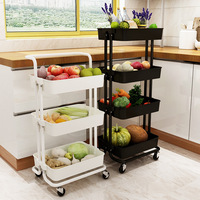Trolley Rack Kitchen Land Type Storage Rack Bedroom Living Room Multi-layer with Wheel Movable Baby Storage Rack Dish Rack
