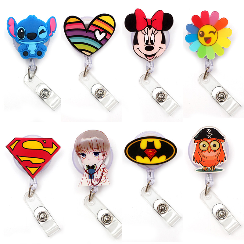 Creative Cartoon Bat Logo Clown Retractable Card Holder Badge Reel Nurse Exhibition Enfermera Girl Name Card Chest Captain Boy