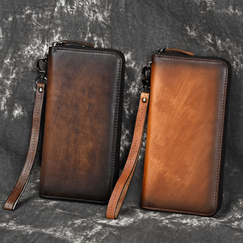 MAHEU Simple Design Vintage Leather Long Wallet Of Men Casual Men's Long Purse Zipper Business Wallet For 6 Inch Moible Phone