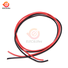 1 Set 14 AWG Gauge Wire Flexible Silicone Stranded Copper Cables 2m For RC Black 1M+ Red 1M silicone wire 14AWG