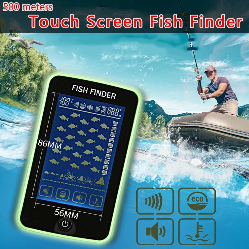 Freies Verschiffen! Touchscreen 500 Meter Wireless Fisch Finder Sonar Sensor Transducer Tiefe Echolot Batterie Aufgeladen