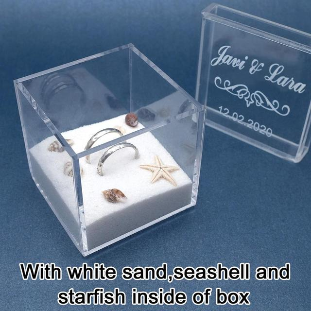 Clear Acrylic Jewelry Gift Box for Ring Holder Wedding Engagement Present Pip C/&