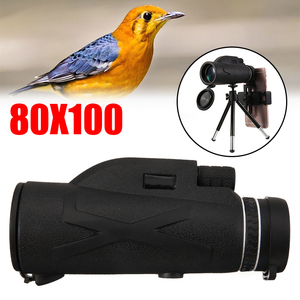 New 80X100 Zoom HD Lens Prism Hiking Monocular Telescope Clip Tripod Compatible for Mobile Smart Cell Phone Camera Lens