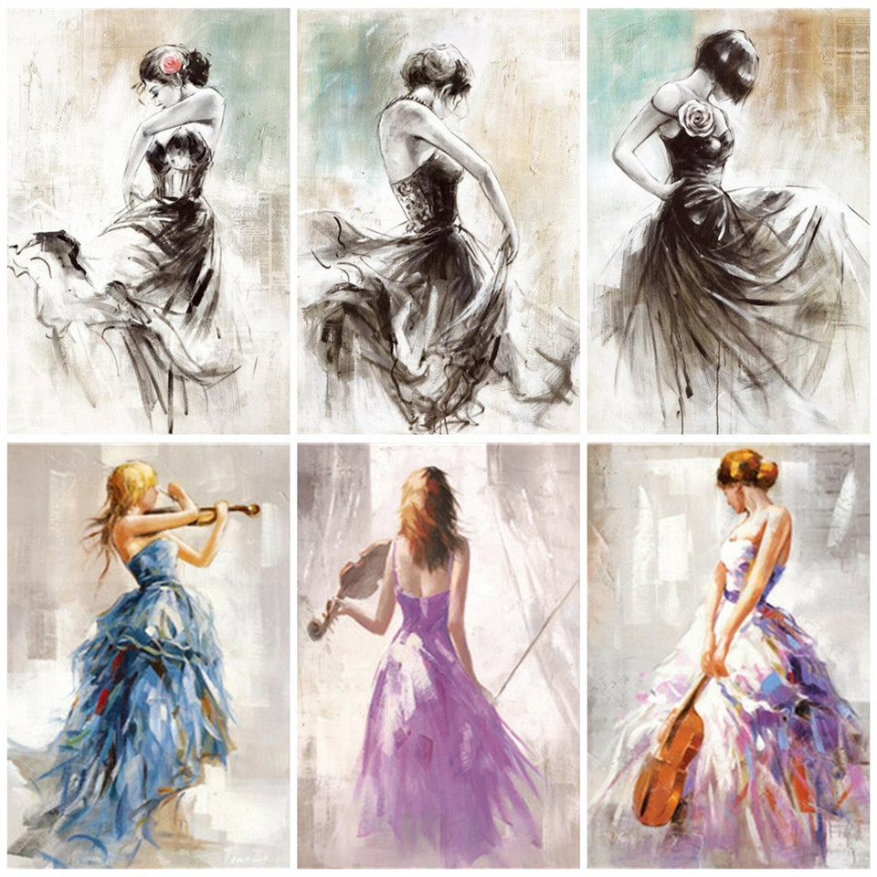 AZQSD Adult Coloring By Numbers Portrait DIY Unframe Wall Art Acrylic Paint Oil Painting By Numbers Ballet Girl Unique Gift