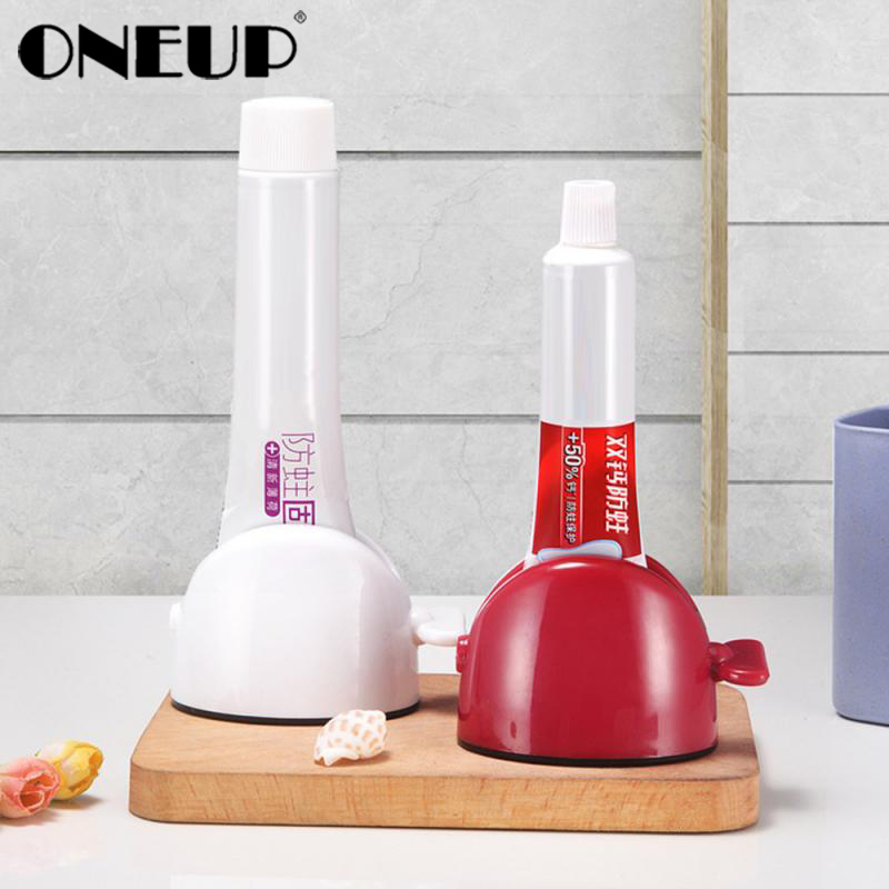 ONEUP Rolling Tube Toothpaste Squeezer Dispenser Toothpaste Seat Holder Stand Roller Toothpaste Dispenser Bathroom Accessories