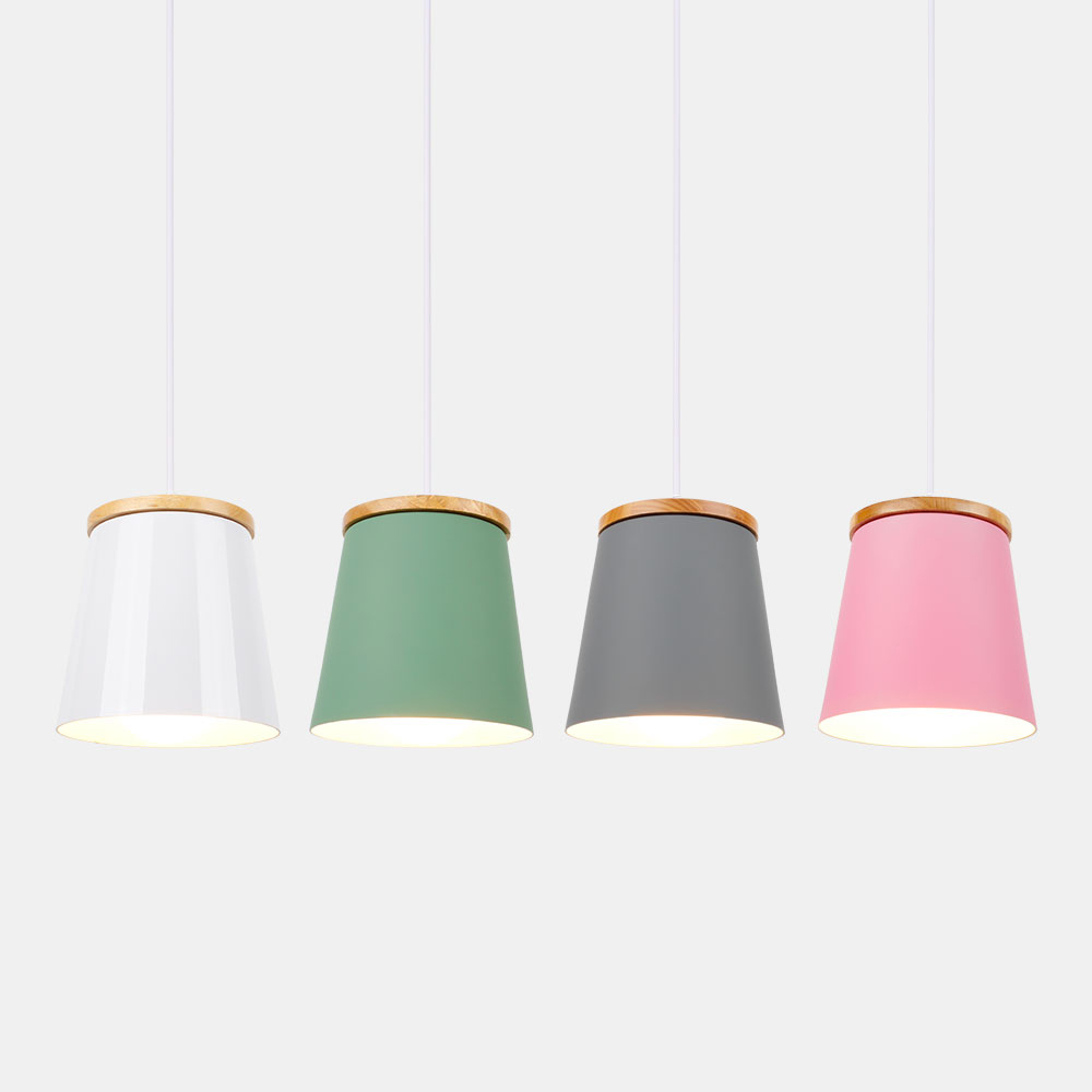 Wooden Nordic Pendant Lights Restaurant Light Fixtures E27 Aluminum Lampshade Pendant Lamps For Home Lighting Hanging Lamp