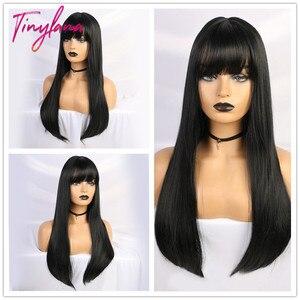 Image 1 - Pequeña Peluca de LANA negra larga y recta con flequillo, pelucas sintéticas para mujeres negras, peluca de disfraz de fibra resistente al calor para Cosplay